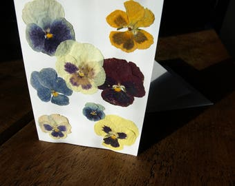 Unique Pressed Dried Flower Blank Occasion Card - Birthday / Valentine's / Thank you