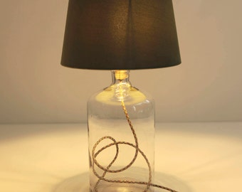 Lamp electric multicolor transparent glass with a khaki shade in velvet and string