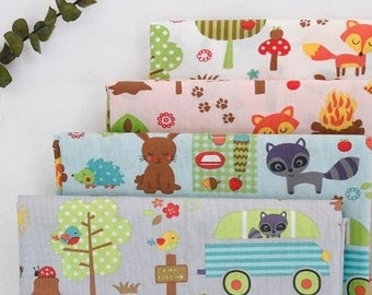 Camping Animals, Tetron Cotton Fabric, by Yard