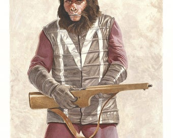 Original Planet of the Apes Painting -- Zako, Gorilla Guard