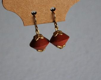 Clay Leaf Detail Beaded Earrings, 18 Karat Gold
