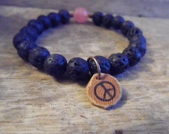 Lava & Rose Quartz Beaded Bracelet