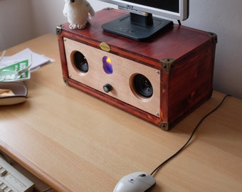 "Boombox ""The Pirate Box"" wooden Speaker Hi-Fi Vintage Handmade Made in Italy Radio Audio amplifier Home Design wooden Bluetooth Portable"