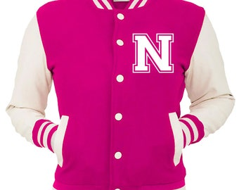 Personalized Pink Varsity Jacket, Base Ball Jacket, Letterman Jacket Pink & White - Custom Letter N