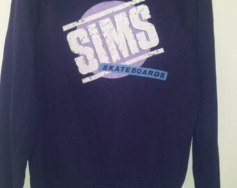 Rare Vintage 1980s Sims Skateboards Hoodie in Good Condition!
