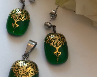 Handmade Stainless steel Gilding enamel Pendant and Earrings