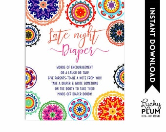 Fiesta Late Night Diapers / Mexican Late Night Diapers / Fiesta Baby Shower Games / Colorful Folk Art / DIY Printable FT01