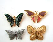 lot of 4 vintage butterfly brooches, gold tone cloisonne enamel and silver tone, Gerrys LIA costume jewelry
