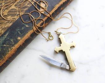 Cross Pocket Knife Necklace | Gold Brass Religious Symbol