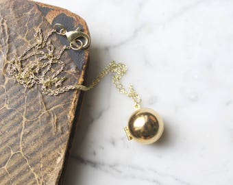 Vintage Brass Ball Shaped Locket Necklace