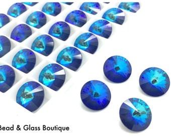 Swarovski Crystal Rivoli #1122, 14mm, 4 pieces, Ultra Marine AB