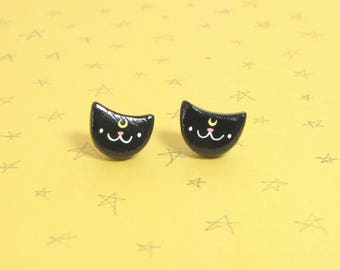 Luna Cat Clay Sterling Silver Post Earrings