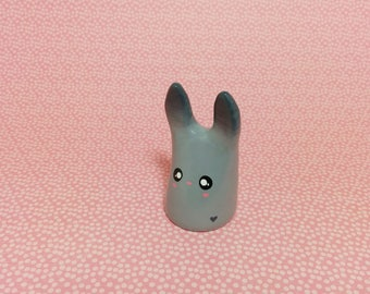 Stormy Gray Bunny - Clay Figurine