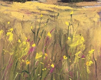 IRELAND Fields Wildflowers plein air  Landscape Original Pastel Painting Karen Margulis 7x5