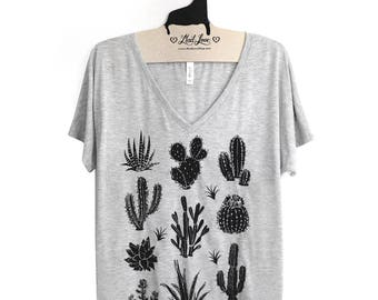 Medium - Heather Gray Slouchy V-Neck T-Shirt Hand Screen Printed with Cactus and Succulents