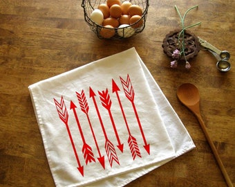 Kitchen Towel Arrows print Tribal Dish Cloth tea towel CUTE screen print kitchen Indie Housewares Cooking Christmas Gift Stocking Stuffer