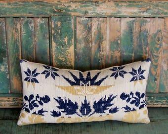 Farmhouse Pillow, Antique Coverlet & Vintage Ticking, Rustic Rectangle Pillow, Farmhouse Decor, Navy Blue Ecru Tan - READY TO SHIP