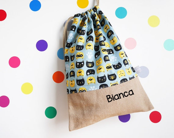 Customizable drawstring pouch - Cats - blue - yellow - black - animals - Child Name - cuddly toy bag - slippers bag - toys