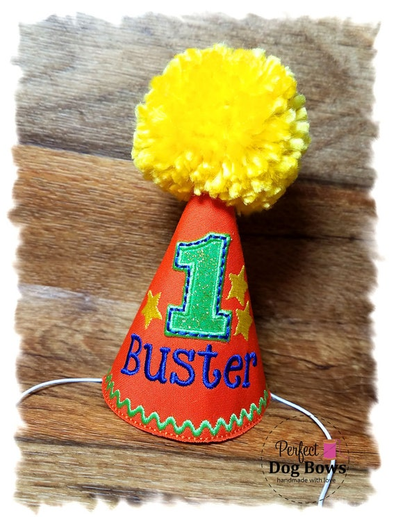 Dog Birthday Hat, Dog Party Hat, Dogs First Birthday, Boy Dog Birthday, Personalized Party Hat