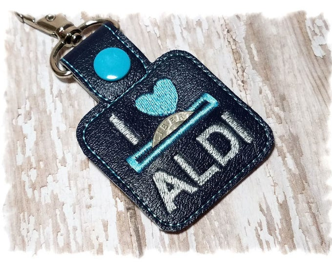Quarter Keeper Keychain, Quarter Holder Key Fob, Coin Keeper, Coin Holder, Navy Keychain, Shopping Key Fob, Quarter Keeper Fob