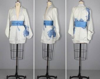 1950s / vintage haori / silk kimono / porcelain blue / silk jacket