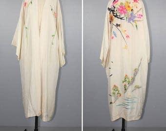 embroidered kimono / silk robe / antique kimono / dressing gown / 1930s floral