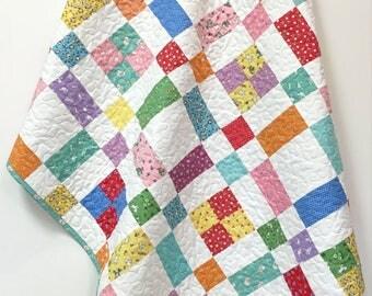 Baby Girl Quilt 1930's reproduction prints Handmade Crib Quilt Nursery Bedding Crib Bedding Feed Sack Fabrics