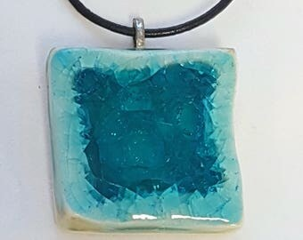 Blue Ceramic and Teal Glass Square Pendant with Adjustable Leather Necklace