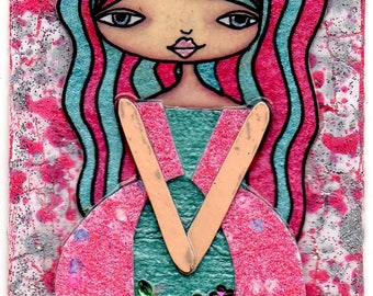 ACEO/ATC - Girl with Pink and Turquoise Hair
