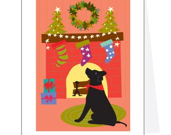 Holiday Greeting Cards Black lab pink room