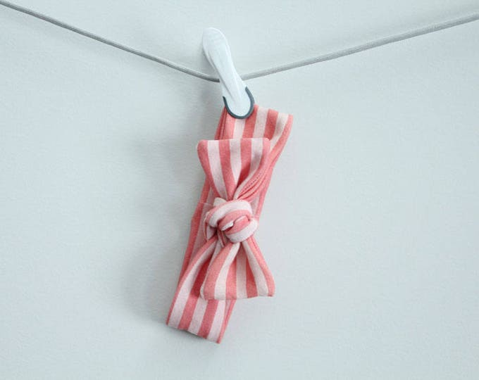 headband baby stripe coral Organic knot by PETUNIAS  modern newborn shower gift photography prop outfit accessory girl