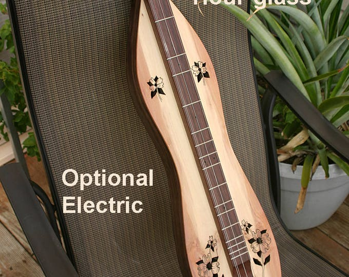 Dogwood Mountain Dulcimer, 4-string Hour-glass, case, accessory kit, and optional 2-band Electric