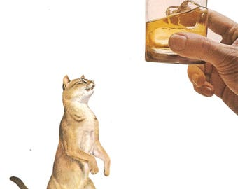 Original Collage on Paper-Cats & Cocktails