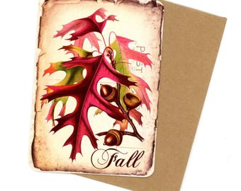 Fall Leaves Cards, Flat Cards, Oak Leaf Cards, Vintage Style, Oak Leaves, Acorns and Leaves, Rustic Style Note Cards, Bluebird Lane Cards