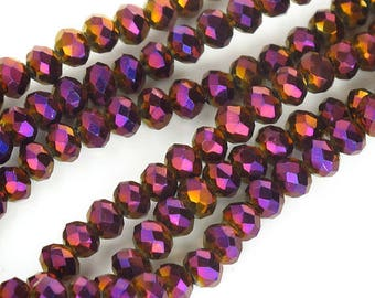 Crystal Rondelle 4x3mm Faceted Purple AB Full Strand 150 beads