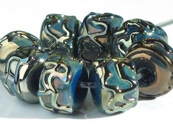 Handmade Lampwork Bead Set Metallic Blue Gold Green SRA