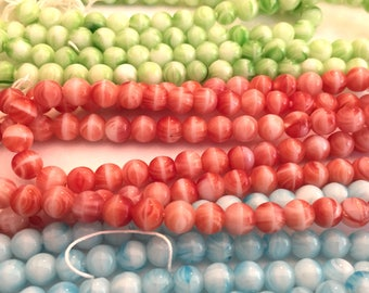 Vintage Czech  beads (50+) Glass blue green dark red opaque glass rounds 7mm tagged strand 6mm (50+)
