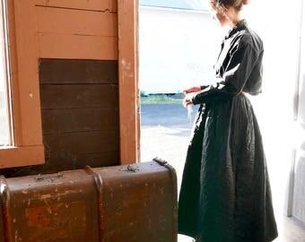 "Victorian Black Silk Hand Quilted Petticoat 30"" Waist"
