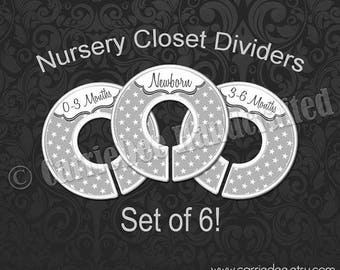 Assembled Grey Stars Baby Closet Dividers, Grey Stars Nursery Closet Divider, Baby Clothes Organizers, Grey Nursery Decor, Gender Neutral