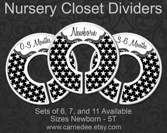 Black and White Stars Baby Closet Dividers, White Stars Nursery Closet Divider, Baby Clothes Organizers, Black and White Nursery