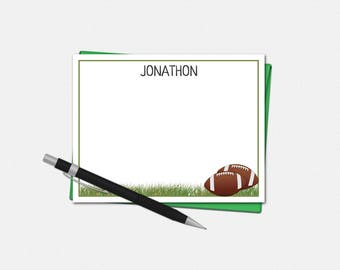Football Note Cards - Personalized Football Note Cards - Coach Note Cards - Set of 10 - Flat Note Cards - Football Stationery