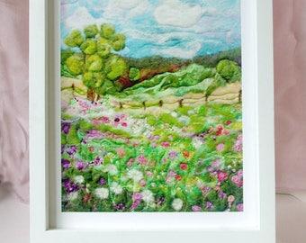 "Grandpa's Fence, Fiber Art: Quality Art Print of Wool & Silk Fiber Felted Painting (8 x 10"")"