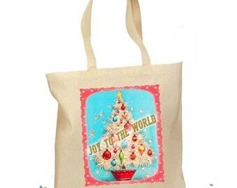 Christmas Tote Bag - Christmas Tree Gift Bag - Joy to the World - Retro Gift Canvas Vintage Personalized Canvas Bag - Mid Century Christmas