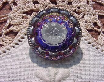Royal Blue Platinum Floral Lace Czech Glass Button