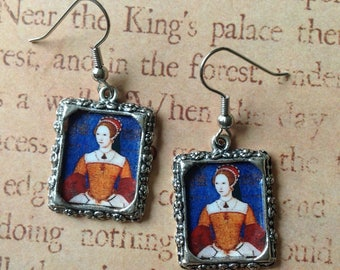 Altered Art historical portrait English Queen Mary Tudor dangle drop earrings medieval geeky