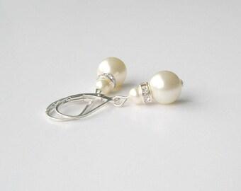 Ivory Pearl Bridal Earrings, Pearl and Sterling Drop Earrings, Bridesmaid Jewelry, Swarovski, Cream Pearl Drop Earrings, Wedding Party Gift