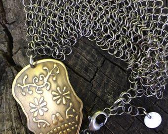 Sugar Skull and Chain Mail Bracelet