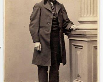 Vintage photo CDV Civil War Handsome Man Long Coat P. Tenney Gates Plattsburgh New York