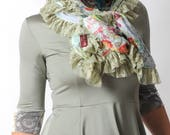 Green ruffled shawl, Wide floral cotton scarf with butterflies, Green lace ruffles, Womens scarf, Gift for her, MALAM