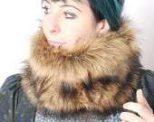 Faux fur cowl - Brown fake fur neckwarmer - Winter scarf in light brown and black, long haired faux fur, MALAM